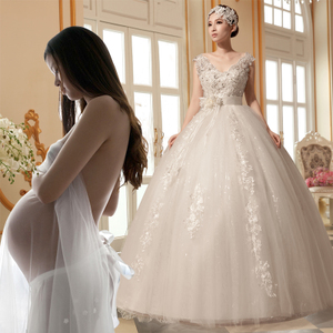 Pregnant woman wedding dress high waist 2017 new bride marry add fat big size mm show thin Korea version out yarn