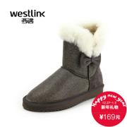 Westlink/West New 2015 winter bow flat round head and down to keep warm mosaic women snow boots