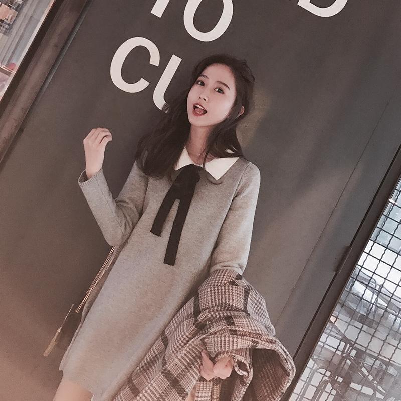 肉完ROUWANBABY161214赫本风chic蝴蝶结长袖针织裙秋冬内搭连衣裙