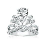 Korean version of the popular Crown drops Crown wedding bridal rings wedding rings couples fashion rings