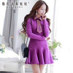 Long sleeve dress big pink dolls 2015 summer dress new women's slim fit slim sweater dress