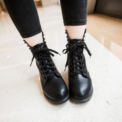 2015 new Korean students for fall/winter shoes women's boots comfort Martin boots short boots with round head rivets with flat boots tide