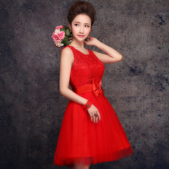 Purple Fairy Bride dresses cocktail wedding toasting 2015 summer new dress strap lace dress red Butterfly