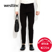 Westlink/West fall 2015 quarter new DrawString mosaic knitting elastic jeans men's casual pants