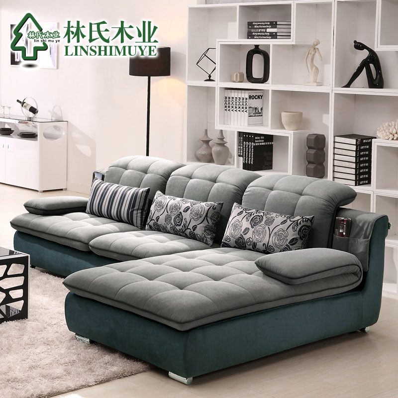 林氏木业布艺沙发可拆洗时尚现代客厅转角布沙发组合家具F09853#产品展示图3