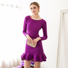 Spring in Europe and America the new elegant waves ruffled short skirt high waist slim fit sweater knitted dresses celebrities 9294