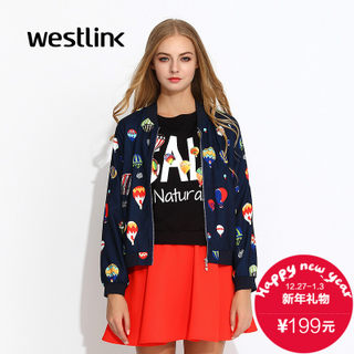 Westlink/West fall 2015 the new Europe and the tide thin printed baseball uniform dress jacket coat