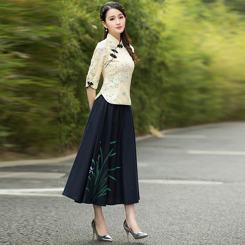 2019秋季新款女装小香风碎花改良唐装旗袍上衣+长裙两件套装时尚