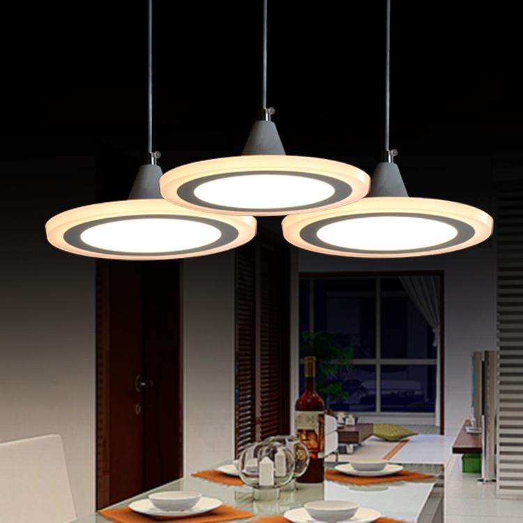 餐吊灯LED三头现代简约饭厅餐厅灯 时尚灯个性创意圆形餐桌灯具-华容照明