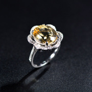 Thai luxury exaggerated s925 silver ring large Topaz ladies ring sparkling diamond exquisite rings