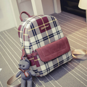 British Academy wind backpack bag 2015 new Korean version flows bear Plaid backpack junior high school students ' school bags