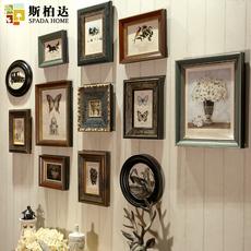 斯柏达欧式实木照片墙客厅玄关美式复古相框墙创意挂墙组合相片墙