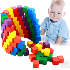 Early childhood educational wooden baby toys 100 squares color building blocks children's teaching aids three-dimensiona