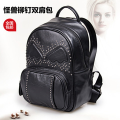 2015 fall/winter new style handbag leather Monster wings Backpack Backpack Korean fashion rivet ladies travel bags