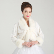 Honey marriage accessories wedding dress shawls long strips of thickened woolly shawls to keep warm shawl, white PJ005