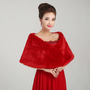 Honey made accessories wedding dress shawl thickened woolly shawls all roads lead to shawl red shawl PJ010-