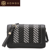 Honggu red Valley woman counters authentic woven shoulder bag color grain cowhide Crossbody 6938