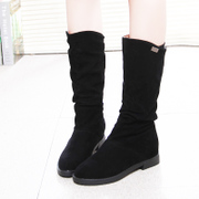 2015 new autumn and winter boots suede flat bottom tube boots woman students in high scrub shoes boots heels