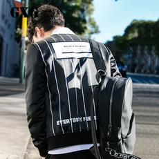 [新品]GXG男装 薄外套韩版修身黑白条棒球领夹克外套男#63821041