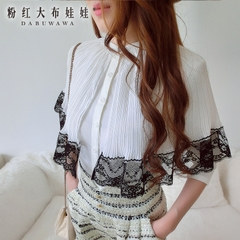 Shirt women long sleeves Pink doll 2015 new Korean lace Cape coat with a white shirt women