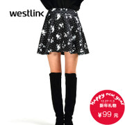 Westlink/West 2015 winter new style both wear skirts printed puff female space cotton skirt dress