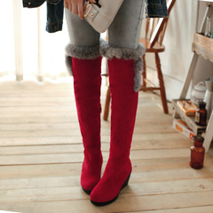 2015 new Korean version of women's boots to keep warm in winter scrub winter boots over the knee boots with zipper biker boots women