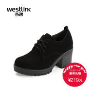 2015 winter season new West meets Scrubs with deep heavy-bottomed round chunky heels high heels shoes leisure shoes