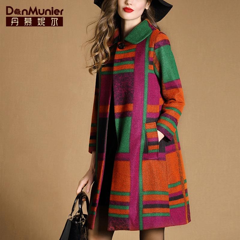 丹慕妮尔2015冬装新款大牌毛呢外套女中长款长袖格子毛呢大衣3350