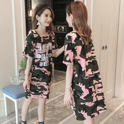 韩版迷彩蝙蝠袖大码字母体恤上衣纯棉短袖宽松中长款T恤裙女夏季