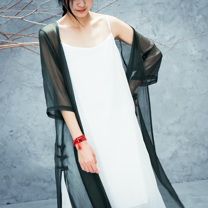 古风汉服棉麻长款禅服女夏季短袖白色防晒衫薄款开衫仙女超仙外套图片