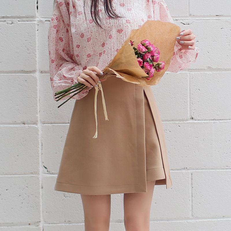 甜美秋装侧开叉不规则半身裙女 百搭俏皮纯色A字裙短裙