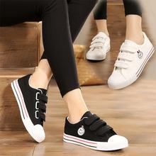 鞋子女2021新式春夏i28季魔术贴30单鞋帆布鞋韩款学生(小)白鞋