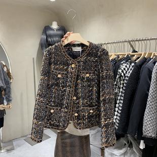 重工设计感粗线编织呢韩国东大门女秋季新款长袖圆领气质短款外套