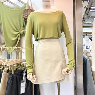 2018年初秋新款女装薄款净色圆领套头时尚气质百搭休闲显瘦针织衫