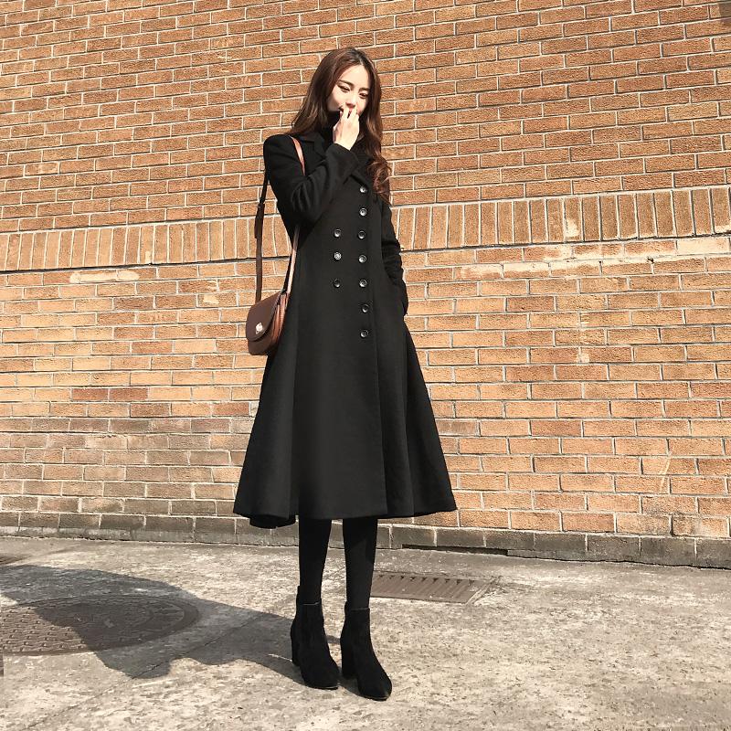大衣女新款2018黑色赫本长款过膝冬款韩版妮子气质双排扣毛呢外套