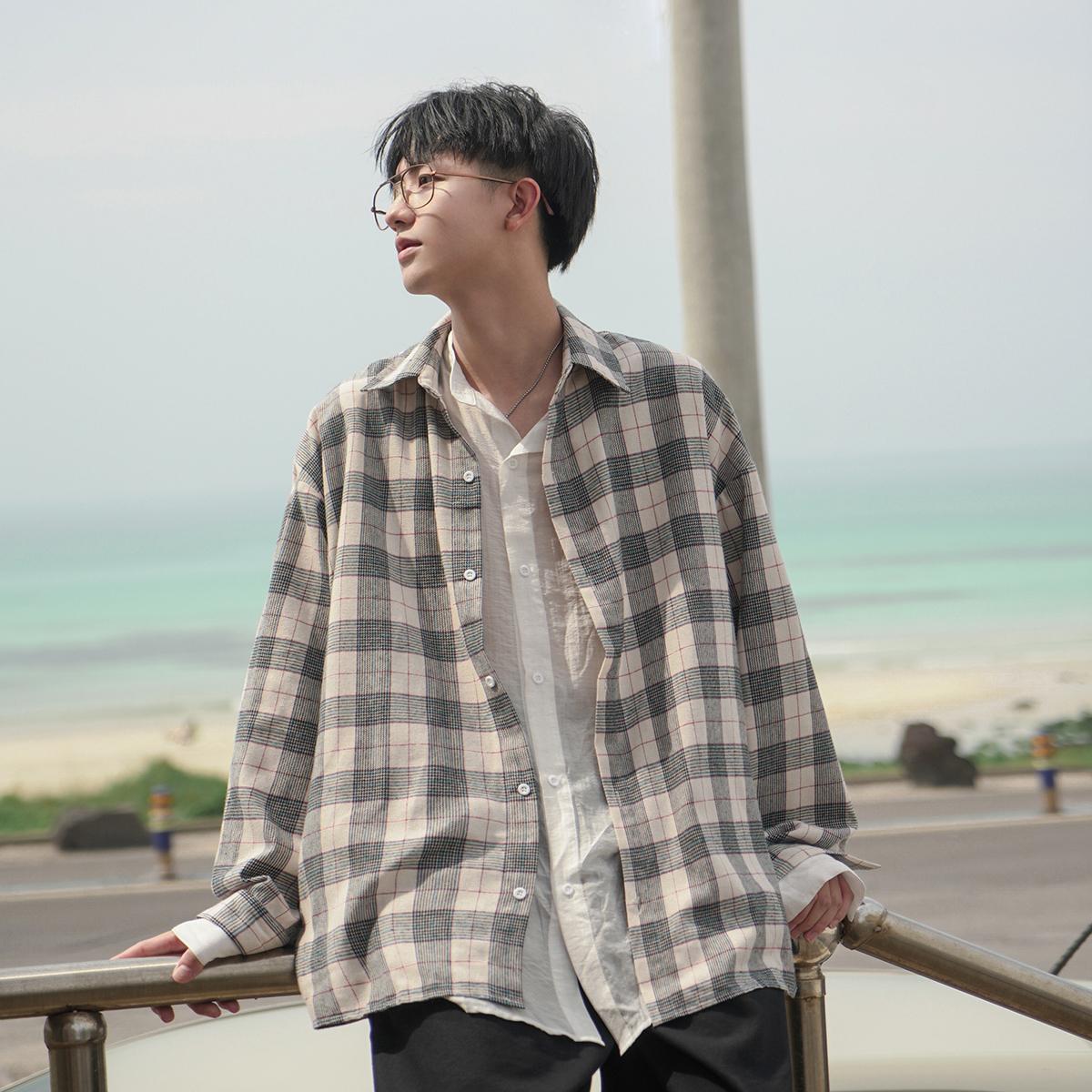 [¥83]禾子先生秋装百搭小清新长袖衬衫宽松假两件男士格子学生休闲衬衣