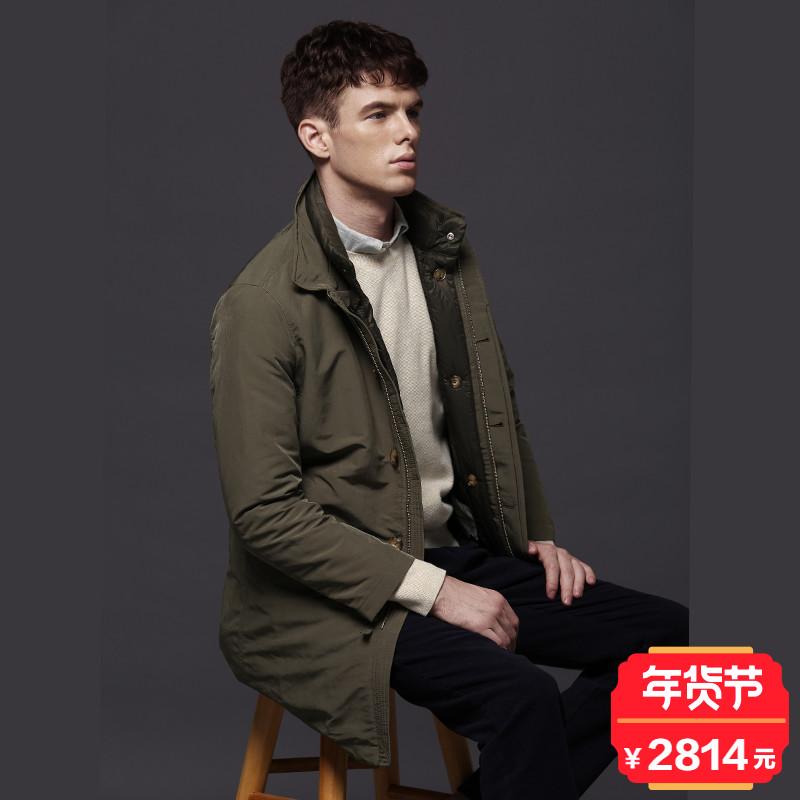 BEANPOLE滨波 男士纯色时尚中长款羽绒服 BC7930A18