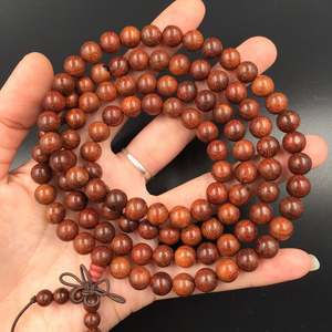 Authentic small leaf red sandalwood bracelet bracelet men and women couple jewelry rosewood rosewood rosary beads 108 pieces
