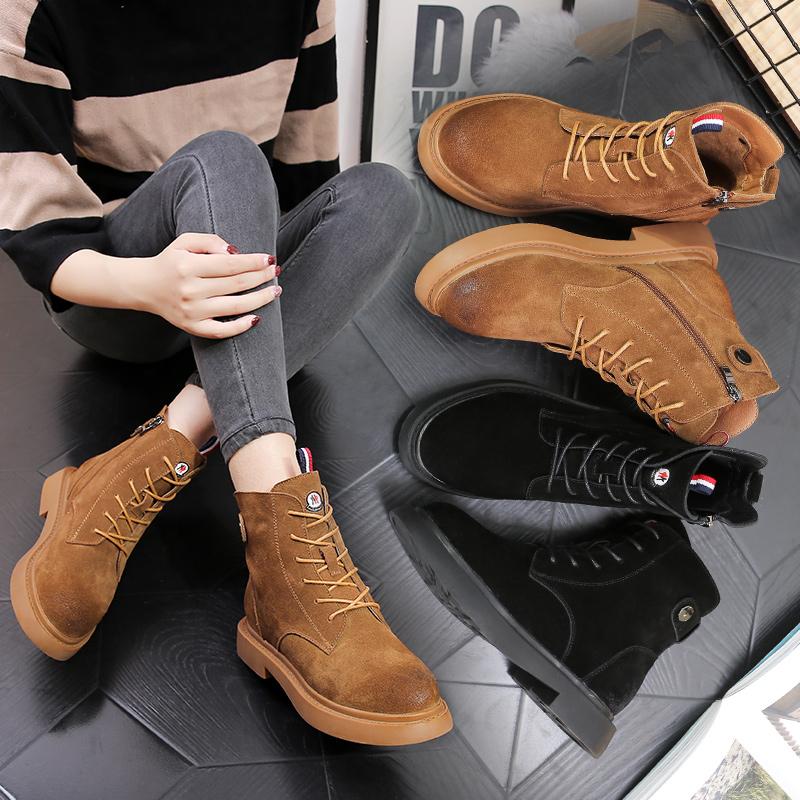 马丁靴女秋冬季新款英伦风低跟短靴加绒磨砂真皮单靴2017百搭鞋子