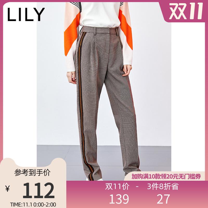 LILY2020新款女装复古格纹高腰显瘦小脚直筒裤宽松休闲裤长裤