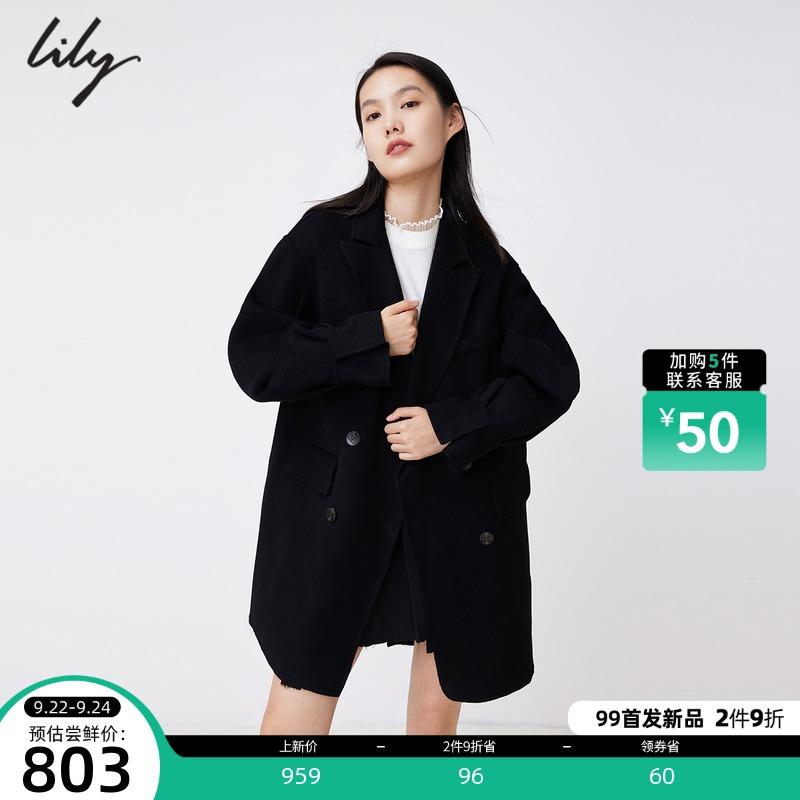 LILY2021冬新款女装时髦绵羊毛中空纱超轻保暖双排扣毛呢外套