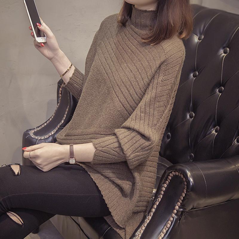 不规则高领宽松套头毛衣女2018新款秋冬韩版蝙蝠袖针织打底衫女潮