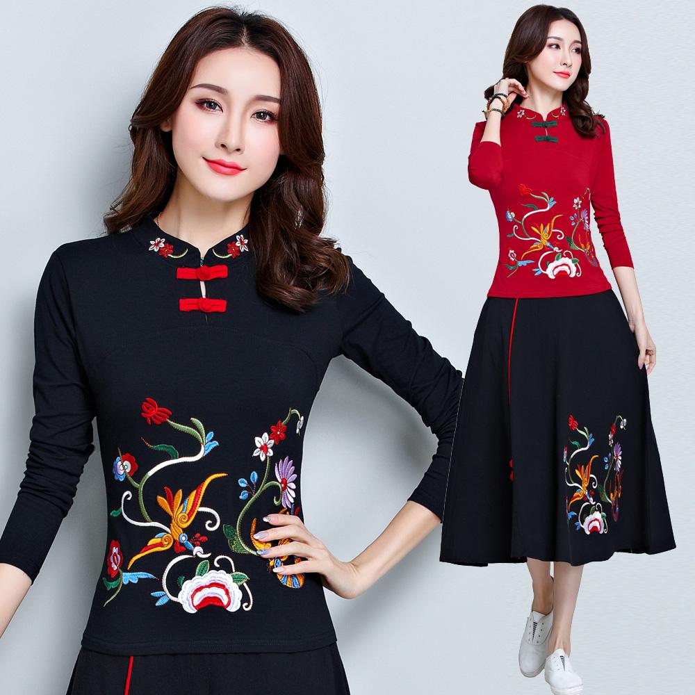 民族风刺绣花长袖T恤女中国风立领盘扣大码打底衫棉加绒刺绣上衣