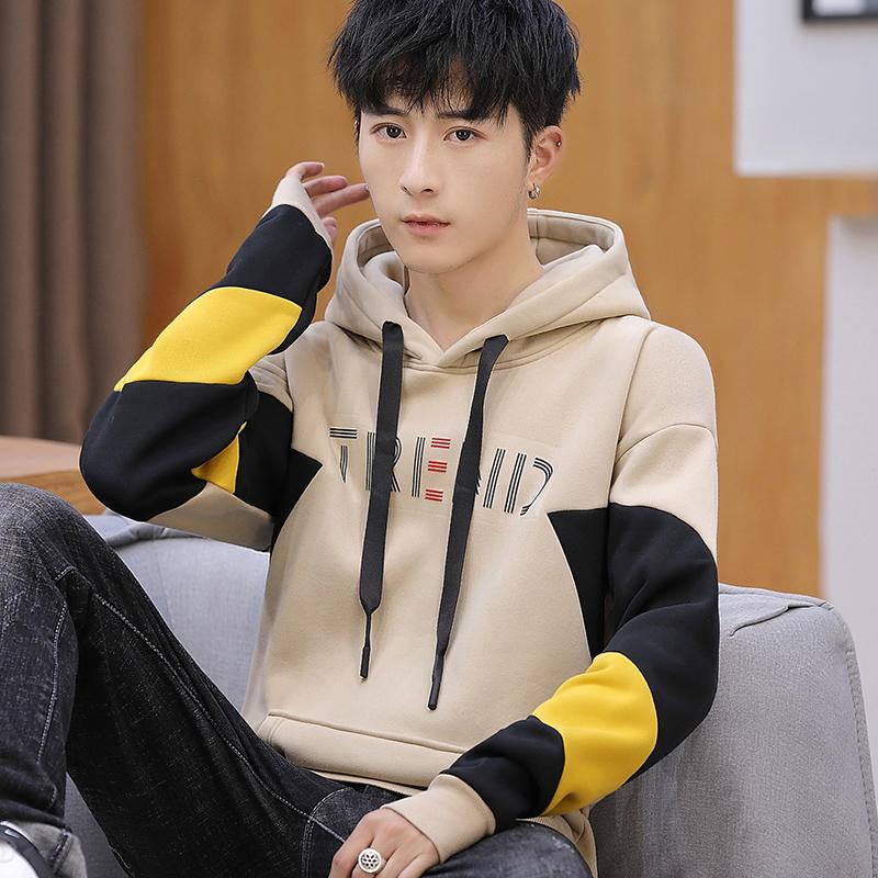 秋冬新款韩版修身青少年学生卫衣男 加绒加厚长袖连帽卫衣男