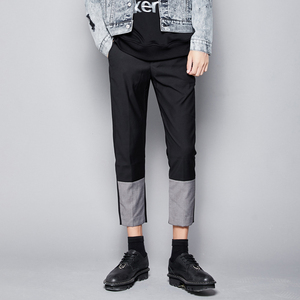 Hidden original men's clothing original contrast color stitching slim feet cropped pants English tapered suit pants 9 points trousers