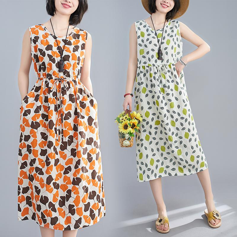 棉麻碎花仙女裙2020新款夏装大码连衣裙背心吊带裙休闲气质中长裙