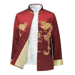 中国风唐装男长袖中青年演出服装主持人中式外套司仪年会活动礼服图片