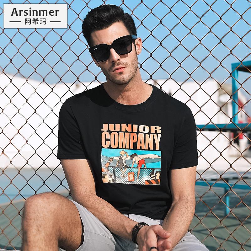 男士短袖t恤2019新款夏季纯棉男生潮牌潮流体恤半袖上衣百搭夏装