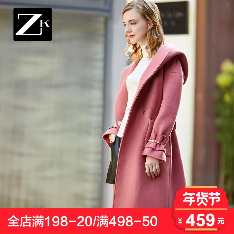 ZK钉珠毛呢外套女韩版中长款大翻领呢子大衣连帽喇叭袖2017冬新款