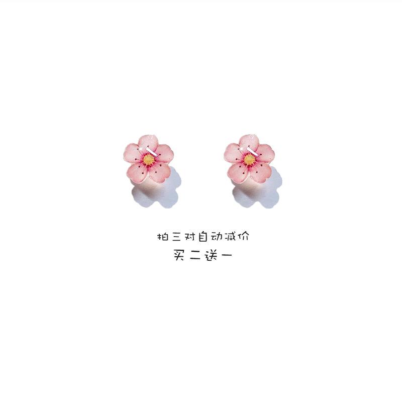2020年新款潮甜美日系樱花耳钉纯银防过敏小巧可爱耳夹清新花朵女
